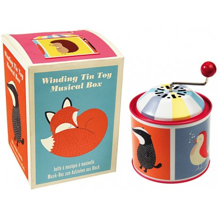 A children's traditional musical wind up toy featuring Rusty and his woodland friends