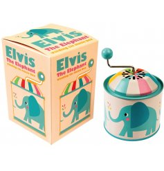 A traditional winding musical box featuring the popular Elvis the Elephant print
