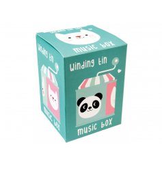 A lovely retro wind up musical box with adorable Miko and Friends illustration