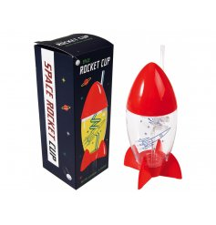 With its Red Fin Base Stand and Removable Nose Cone Lid this awesome cup also features a swirly straw