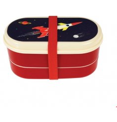this quirky red toned bento will be sure to keep any little astronauts lunch fresh!