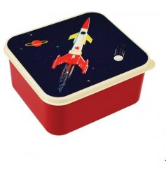 this quirky red toned lunch box will be sure to keep any little astronauts lunch fresh!