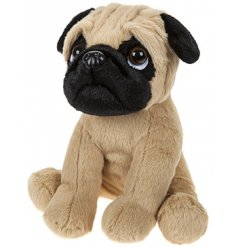 An adorable sitting pug soft toy perfectly complete with a sad looking droopy face