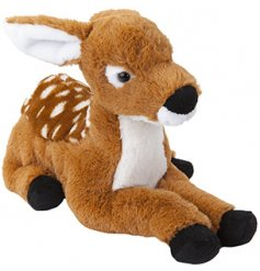 A super soft and snuggly laying deer toy