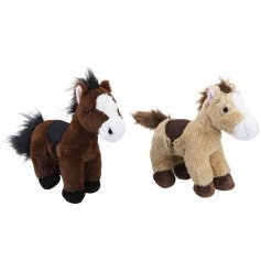 A cuddly mix of plush horse soft toys in assorted colours