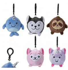 A fun little mix of plush bag clips in an assortment of shapes and styles