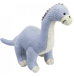 An adorably knitted dinosaur in a baby blue tone