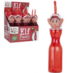 A novelty red drinking bottle with a flexi straw and fun festive elf head. From our popular Mischievous elf range.