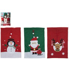 A mix of 3 colourful and cute Snowman, Santa and Reindeer sacks made with luxury felt.