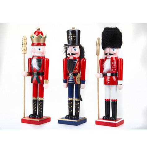 Modelled on Tchaikovsky's traditional Nutracker this assortment of 3 nutcrackers will enhance your Christmas displays