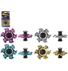 Four assorted metallic, spinning action puzzles each individually boxed