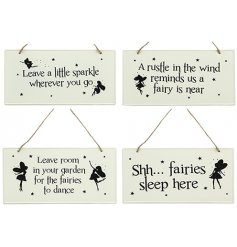 Add a little magic to your garden with these hanging metal signs