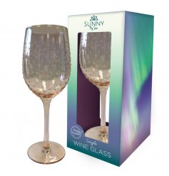 A gorgeous, long stemmed Wine Glass featuring a dewdrop effect decal and a charming rose gold tint