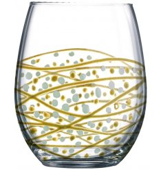 Sunny By Sue - Gold Silver Swirl Stemless Glass