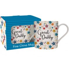 A charming Fine China Mug featuring a colourful star decal and scripted 'Great Daddy' text