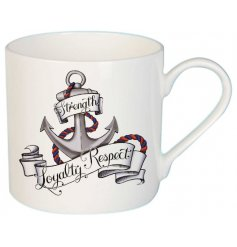 This simple white fine china mug features a tattoo inspired cartoon anchor print and scripted text
