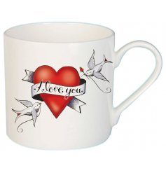 Part of a new range of Fine China kitchenwares, this tattoo inspired printed mug will be sure to improve any cuppa!