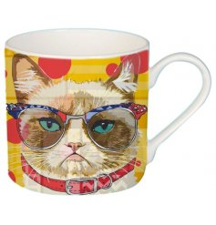 A cute cartoon cat printed Fine China Mug complete with added colour pops and patterns