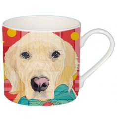A cute cartoon dog printed Fine China Mug complete with added colour pops and patterns