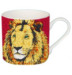 A cute cartoon Lion printed Fine China Mug complete with added colour pops and patterns