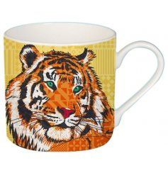 A cute cartoon tiger printed Fine China Mug complete with added colour pops and patterns