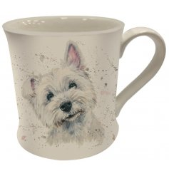 Splash Art Westie Mug   A Fine China Mug featuring a printed wide eyed westie dog decal