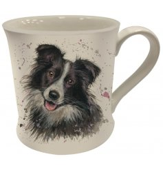 A Fine China Mug featuring a printed wide eyed collie dog decal