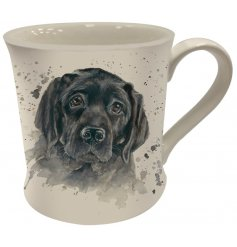 A Fine China Mug featuring a printed wide eyed labrador decal