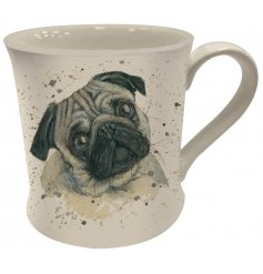 A Fine China Mug featuring a printed wide eyed pug decal
