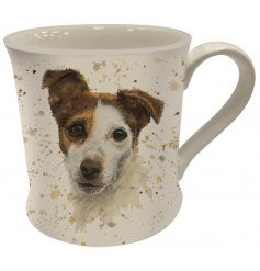 A Fine China Mug featuring a printed wide eyed jack russell decal