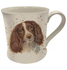 A Fine China Mug featuring a printed wide eyed spaniel decal
