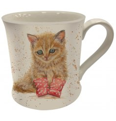 A Fine China Mug featuring a printed ginger kitten in booties decal