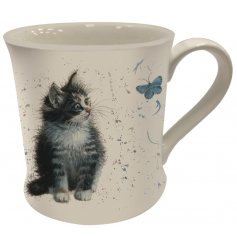 An adorable black and white kitten printed Fine China Mug