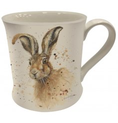 A charming country living mug with a whimsical hare design. A chic gift item and kitchen favourite.