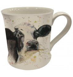 A Fine China Mug featuring a printed cow decal