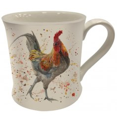 A Fine China Mug featuring a printed Rooster decal