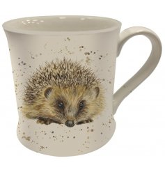 A Fine China Mug featuring an adorable printed hedgehog decal