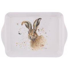 Say hello to Hugh Hare. A charming country style small tray with a whimsical hare design