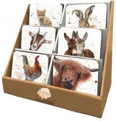 Choose between an assortment of printed animal coasters,