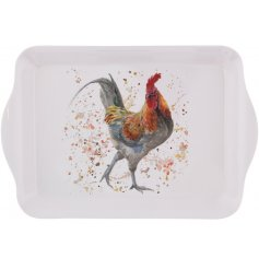 A small sized tray with a charming and unique Rooster design print. A country living kitchenware essential and gift item