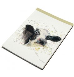 A charming little notepad featuring a Splash Art Clover Cow decal