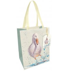 A charming gift bag with a watercolour puddle duck print. A much loved motif on a fine quality gift bag.