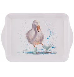Deirdre Duck is splashing in puddles wearing cute polka dot boots. A charming country tray with a signature style.
