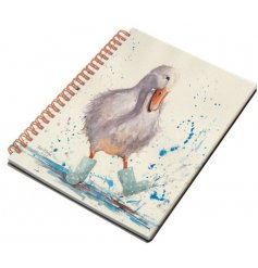 A beautifully illustrated notebook with a charming wellington boot wearing duck design.