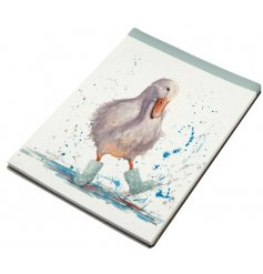 A charming country living style notebook with an adorable wellington boot wearing duck design.