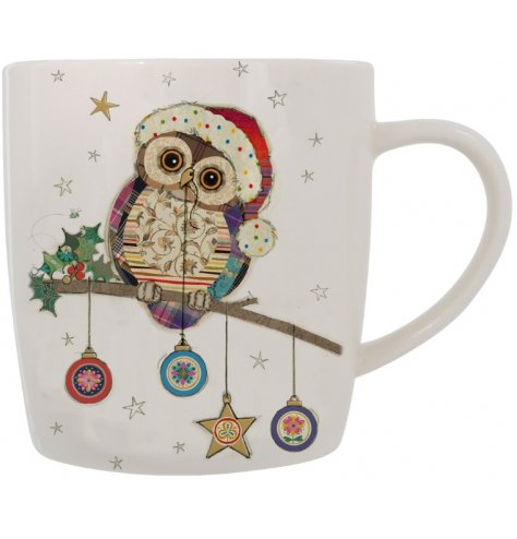 A fine quality mug with a colourful and quirky Christmas patchwork owl illustration.