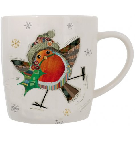 A fine quality mug featuring an original patchwork Christmas robin design complete with Christmas hat and holly.