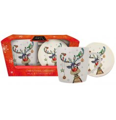 this Traditional themed Ceramic Mug and Coaster set will be sure to make a great gift idea at Christmas!