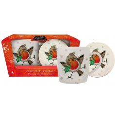 , this Traditional themed Ceramic Mug and Coaster set will be sure to make a great gift idea at Christmas!
