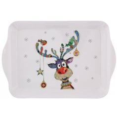 A festive themed plastic serving tray with a cute little illustrated rudolph decal